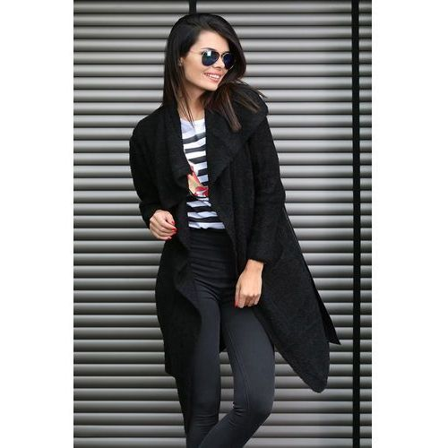 """Sweter z paskiem czarny model """" 004A"""" - czarny"""