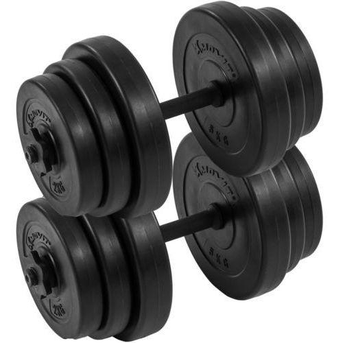 ZESTAW HANTLI 2 X 20 KG CIĘŻARKI 40 KG DO ĆWICZEŃ - 2x 20 kg / Bitumiczne / Czarne