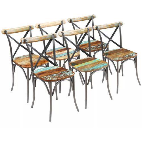 Krzesło do jadalni 6 szt. drewno z odzysku 51x52x84cm (3x243722)