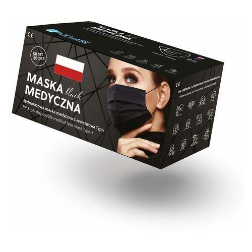 Czarne maseczki jednorazowe medyczne trójwarstwowe z filtrem (50szt) marki Polmask sp z o.o.