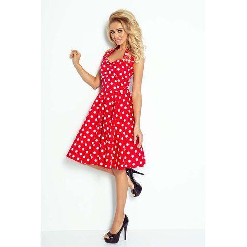 Czerwono Biała Sukienka Rozkloszowana w Grochy Rockabilly Pin Up, rozkloszowana