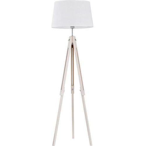 Lampa oprawa podłogowa stojąca drewniana z abażurem TK Lighting Lorenzo 1x60W E27 biała 2972