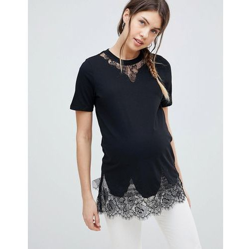 Asos design maternity lace mix longline t-shirt in black - black, Asos maternity