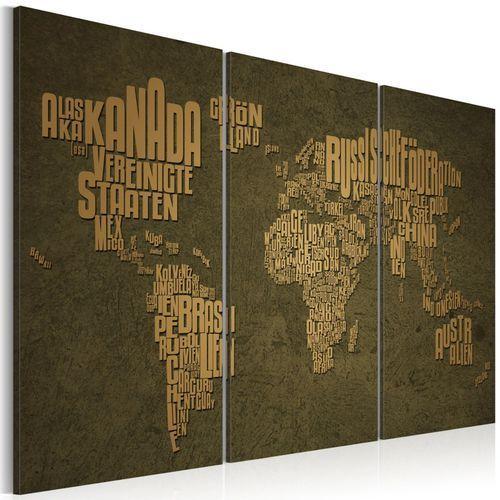Artgeist Obraz - mapa świata, język niemiecki: beżowe kontynenty - tryptyk, kategoria: fototapety