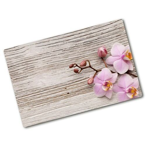 Deska do krojenia szklana Orchidea na drewnie