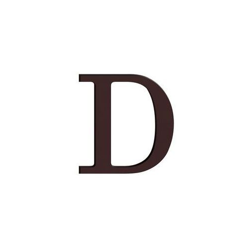 Litera D wys. 9 cm PVC brązowa, CYL-000D-0