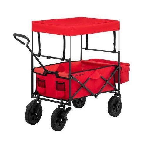 Uniprodo wózek ogrodowy składany - 100 kg - czerwony - hamulce uni_cart_03 - 3 lata gwarancji