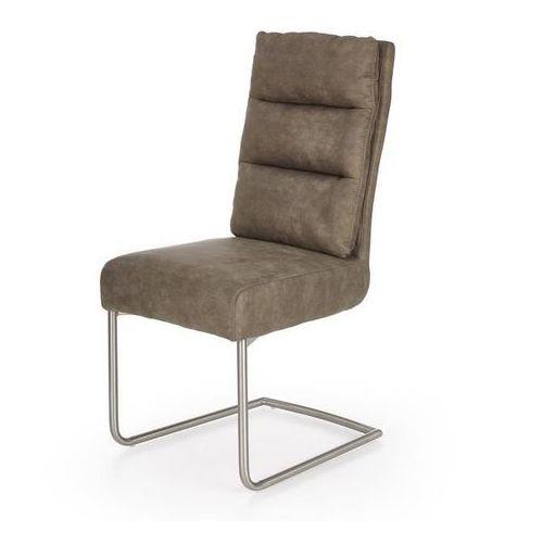 Halmar Krzesło k207 - stalowe krzesło - ekoskóra - popielaty