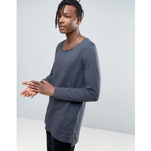 ASOS Scoop Neck Relaxed Super Longline Long Sleeve T-Shirt With Double Hem - Grey