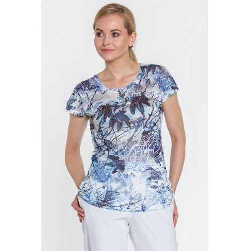 Dzianinowa bluzka w kwiaty - Lara Fabio, kolor niebieski