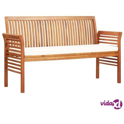 Vidaxl 3-osobowa ławka ogrodowa z poduszką, 150 cm, drewno akacjowe