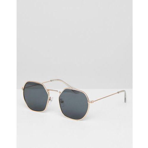round angled sunglasses in gold metal frame with smoke lens detail - gold marki Asos
