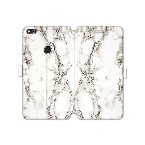 Huawei p8 lite (2017) - etui na telefon wallet book fantastic - biały marmur marki Etuo wallet book fantastic