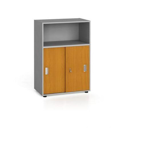 Szafa biurowa kombinowana, przesuwne drzwi, 1087 x 800 x 420 mm, czereśnia marki B2b partner
