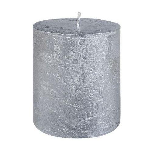 Bolsius Świeca pieńkowa rustic metallic srebrna wys. 8 cm