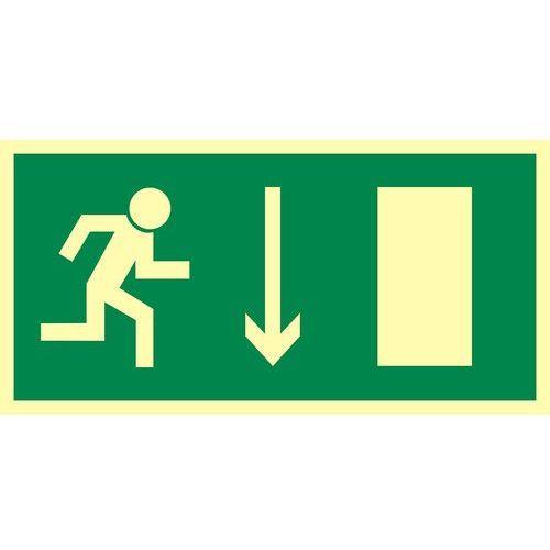 Kierunek do wyjścia drogi ewakuacyjnej w dół (znak uzupełniający) marki Top design
