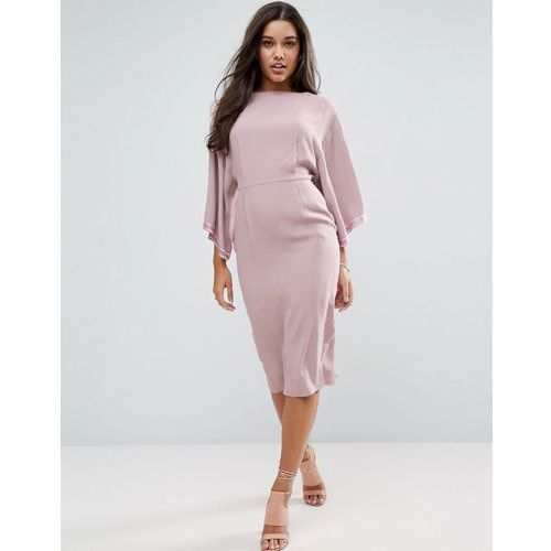 embellished trim kimono midi dress - pink, Asos