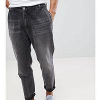 double pleat tapered jean in washed black - black, Noak