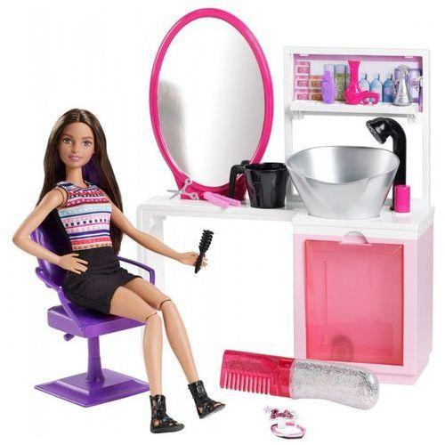 Lalka Barbie Brokatowy salonik fryzjerski (brunetka)