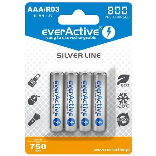 "Everactive 4x r03/aaa ni-mh 800 mah ready to use ""silver line"""