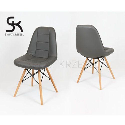 Sk design  ks009 ciemnoszare krzesło z ekoskóry na drewnianych nogach - ciemnoszary