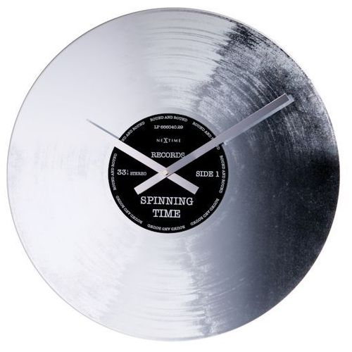Zegar Nextime Silver Record 43 cm, kolor szary