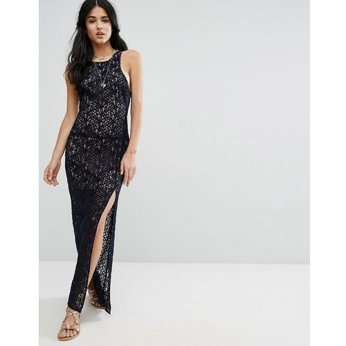 lace column maxi party dress - navy, Free people
