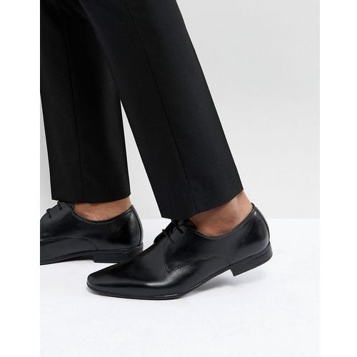 Pier one leather derby shoes in black - black