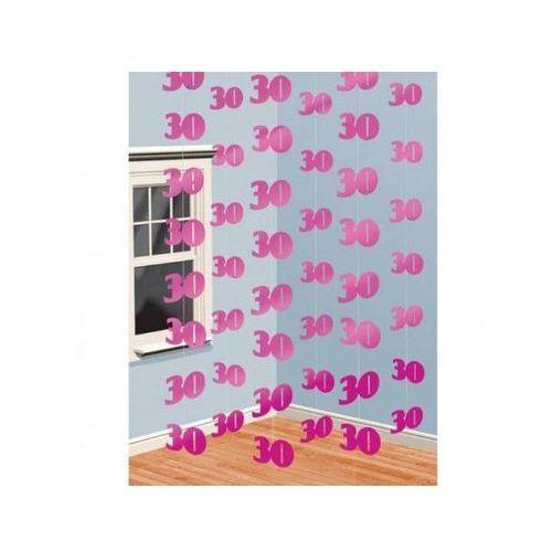 Amscan Dekoracja z wiszących łańcuchów na 30 urodziny - różowa - 213 cm - 6 szt. (0048419828389)