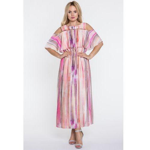 Sukienka maxi w kolorowe paski - Potis & Verso, kolor różowy