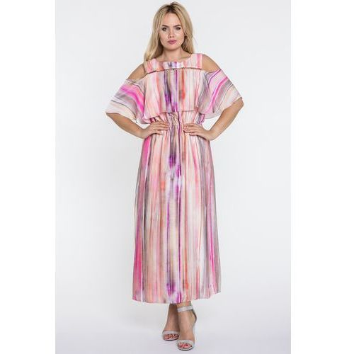 Sukienka maxi w kolorowe paski - Potis & Verso