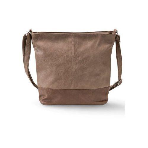 Torba shopper dwukolorowa medium brązowo-jasnobrązowy marki Bonprix