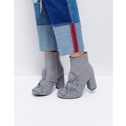 grey knotted bow heeled ankle boots - grey, Glamorous