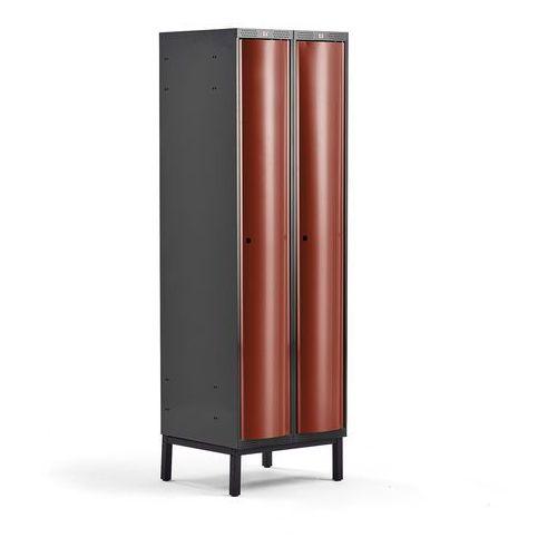 Metalowa szafa ubraniowa CURVE, na nóżkach, 2x1 drzwi, 1940x600x550 mm, czerwony