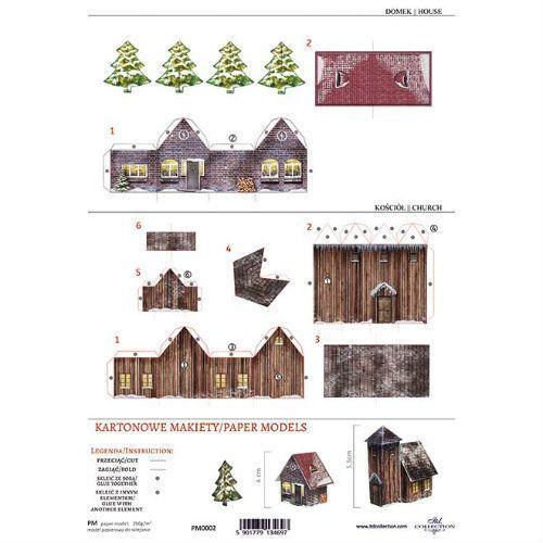 Kartonowa makieta - domek i kościołek - 02 marki Itdcollection