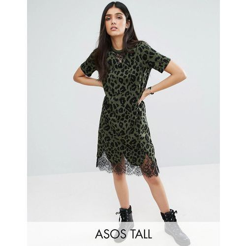 t-shirt dress with lace inserts in leopard print - multi, marki Asos tall