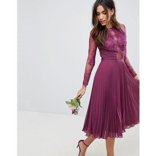 Asos design bridesmaid midi dress with lace sleeves and eyelash lace - purple