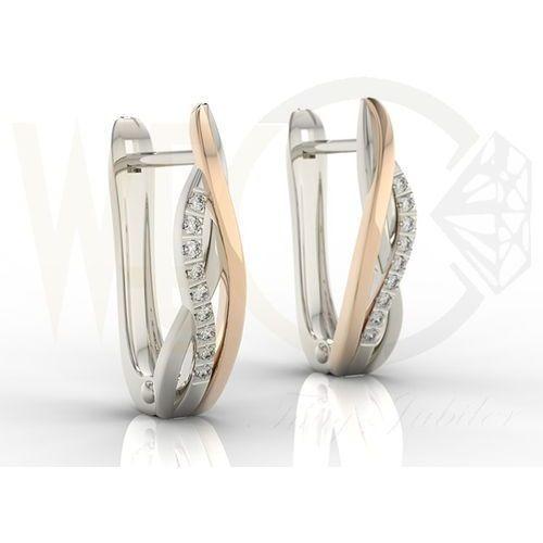 Kolczyki z białego i różowego złota model lpk-73br z diamentami 0,09 ct marki Węc - twój jubiler