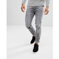 River Island Skinny Jeans With Knee Rips In Washed Grey - Grey