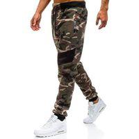 Spodnie męskie dresowe joggery moro khaki Denley TC873, kolor zielony