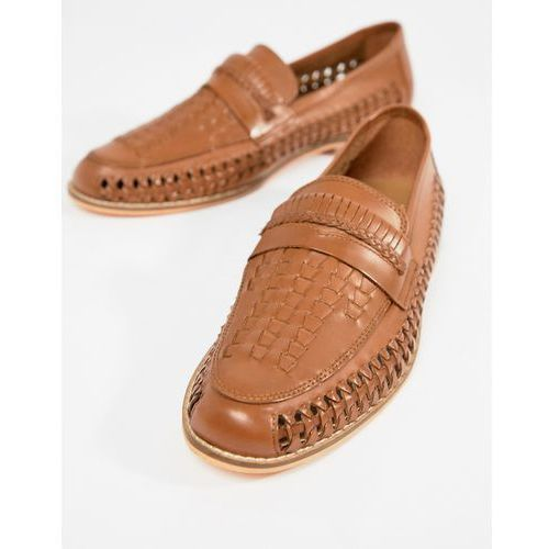 Frank wright woven loafers in tan leather - tan