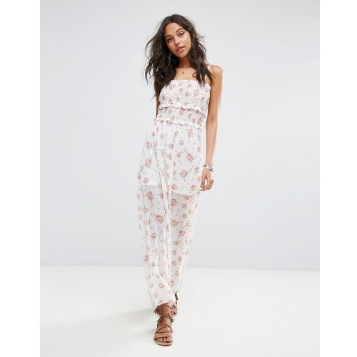 Boohoo Ruched Cami Strap Floral Print Maxi Dress - White, kolor biały