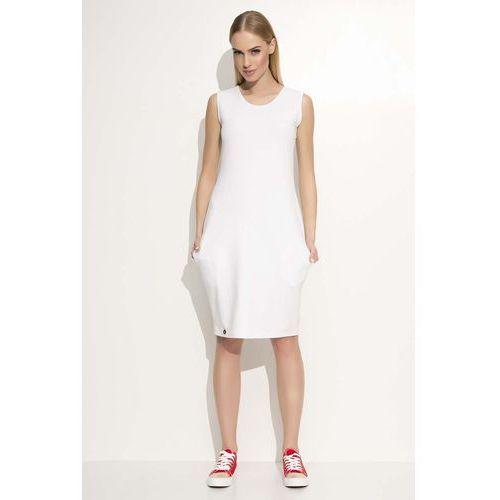 Makadamia Biała sukienka dresowa midi bez rękawów z kieszeniami