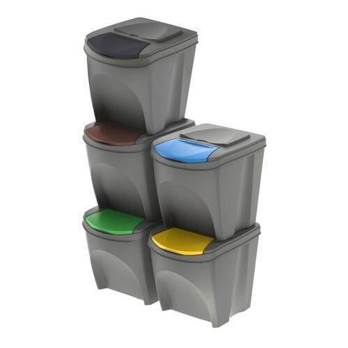 Prosperplast Kosz do segregacji śmieci sortibox szary 5 x 25 l