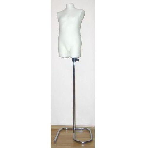 Manekin krawiecki - tors dziecięcy długi ecru na metalowym stojaku zawijanym, 00188