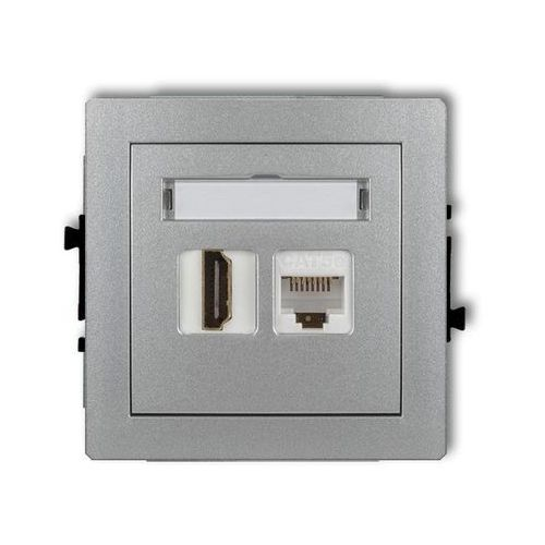 Gniazdo pojedyncze HDMI, komputerowe 1xRJ45, kat. 5e 7DGHK, srebrny Karlik DECO (5903418066772)
