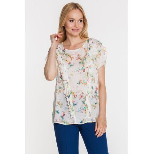 Kwiecista bluzka z ozdobną falbaną z przodu -  marki Duet woman
