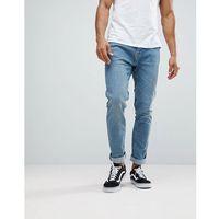 slim fit jeans in mid wash - green, Bershka