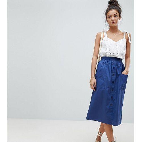 Asos design tall cotton midi skirt with button front - navy marki Asos tall