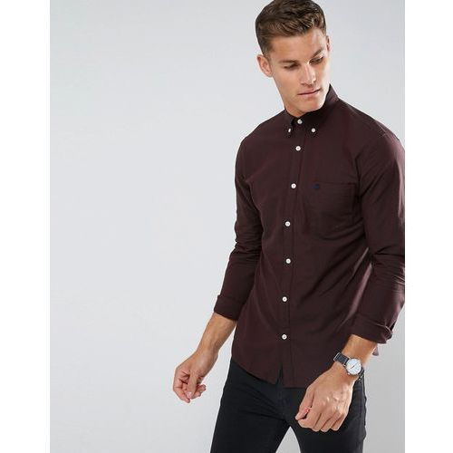 Selected Homme Regular Fit Oxford Shirt With Embroidered Badge - Red